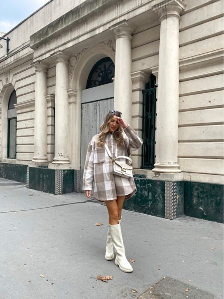 It's shacket season 🍁 I've linked some gorgeous alternatives and also for these cream knee high boots below.   You can get 20% off any bag from MyBag.com with my code; GEMMA20 valid until Sunday 3rd October including this gorgeous Coach Tabby shoulder bag.   #LTKeurope #LTKunder100 #LTKitbag