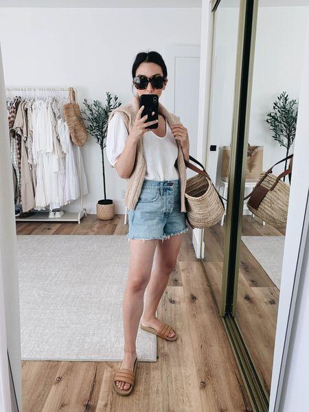 Madewell sale.   Shorts - Madewell 25 Top - Velvet xs Sandals - Beatrice Valenzuela 35 (linked similar) Bag - Loewe medium Sweater - Filoro Cashmere small   #LTKbump #LTKsalealert
