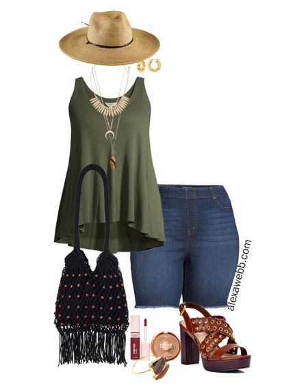 Plus Size Boho Summer Outfits. The first plus size summer boho outfit features denim Bermuda shorts and a swing tank. The boho vibes come in with accessories, jewelry, and shoes. 🌅 ✔️ A straw hat, especially a wide brim fedora, updates practically any look to officially on-trend. 👒 ✔️And, of course, a macrame bag adds a hippy-chic flare. ✌️ ✔️ A platform heeled sandal with grommet details really takes the outfit to the next level. 👡 ✔️ Read more on the blog. 👩🏻💻 @WalmartFashion . ALL ITEMS LINKED in the blog post atalexawebb.com. Look for a link to the post in my bio. . You can also shop these pieces by following me (@ alexawebbfashion) on the free LIKEtoKNOW.it app.plus size swing tank, plus size summer outfit, boho summer outfit, macrame bag, straw hat, platform sandals   #LTKcurves #LTKitbag #LTKshoecrush