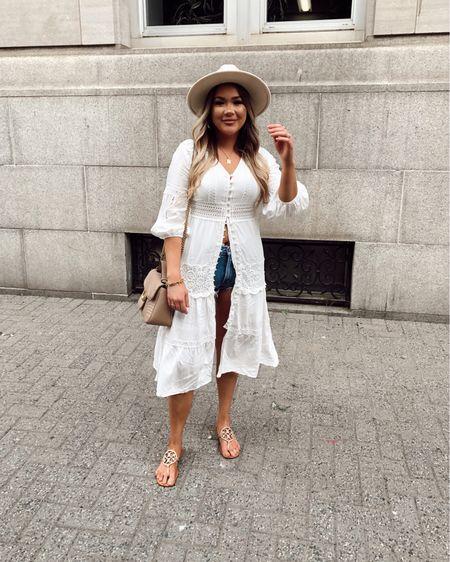 Chicwish dress kimono swimsuit coverups  Shorts  Sandals  Fedora hat  Fall transition   http://liketk.it/3k5X4 #liketkit @liketoknow.it   #LTKstyletip #LTKtravel #LTKcurves