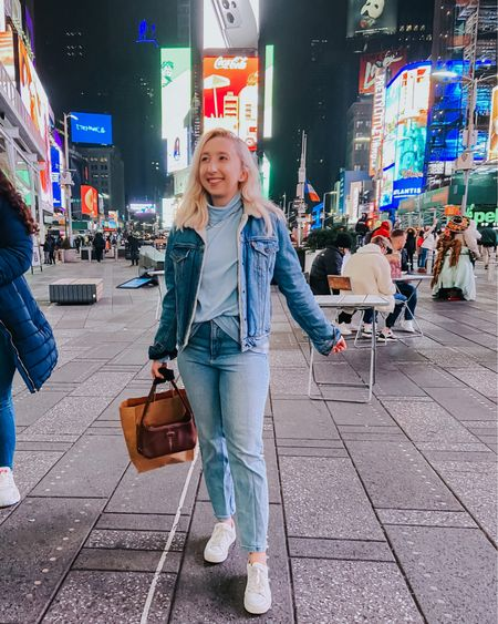 these little town blues, are fading away 🏙✨  jacket: @levis shirt: thrifted @savers jeans: @express purse: thrifted @goodwilldc shoes @tommyhilfiger @marshalls jewelry: thrifted + @tiffanys + @aldinasjewels  shop the post: http://liketk.it/364ci #liketkit @liketoknow.it