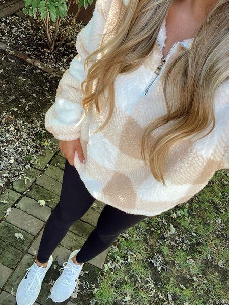 Amazon finds neutral fuzzy pullover for fall + winter, gift idea, plaid sweatshirt zip up  #LTKSeasonal #LTKHoliday #LTKstyletip