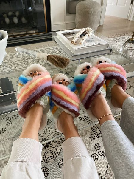 Coziest rainbow slippers, we ordered up one size! They run a little small   #LTKhome #LTKunder100 #LTKSeasonal