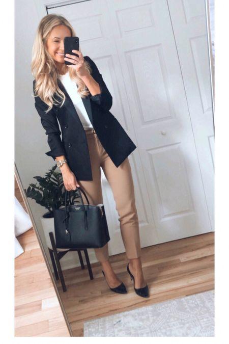 Workwear black blazer J.Crew pants neutral outfit business casual outfit work style   #LTKunder100 #LTKstyletip #LTKworkwear