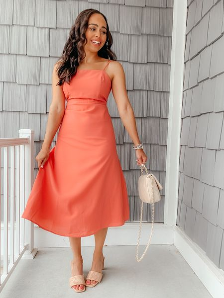 """Red Dress Try On feat this simple & classic salmon midi dress: """"Helpful Hints Salmon Midi Dress"""". Wearing a size XS and fits true to size. The top is form fitted/no stretch but does have adjustable straps! 🥰 Screenshot this pic to get shoppable product details with the @liketoknow.it shopping app: http://liketk.it/3jONs #liketkit #LTKunder100 #LTKunder50 #LTKwedding"""