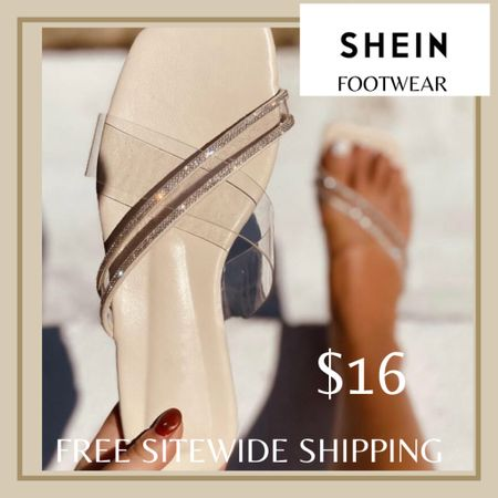 Clear rhinestone decor slide sandals from Shein and free sitewide shipping today   http://liketk.it/3hZdo #liketkit @liketoknow.it #LTKunder50 #LTKshoecrush #LTKstyletip You can instantly shop my looks by following me on the LIKEtoKNOW.it shopping app