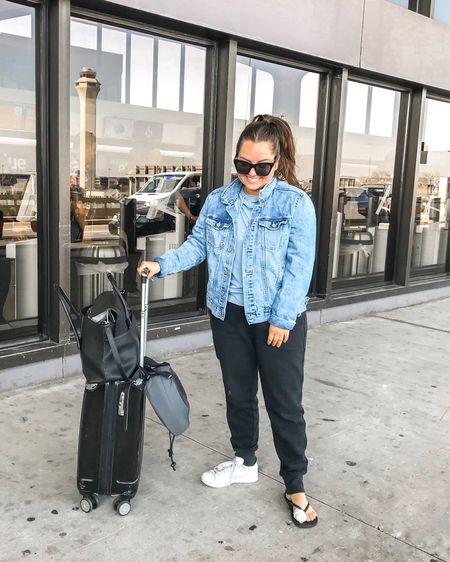 Blue jean jacket. Black jogger sweatpants. Adidas sneakers. Stan Smith. Black oversized sunglasses. Airport outfit. http://liketk.it/2AZ3X #liketkit @liketoknow.it