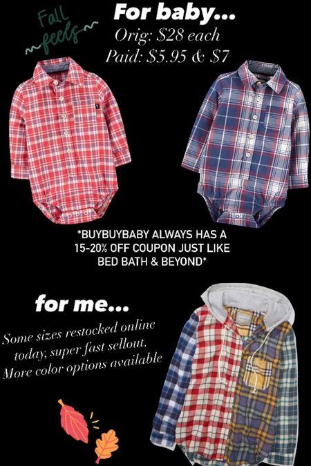Fall outfits Plaid Flannels Hoodie #ltkfall #ltkunder10  #LTKSeasonal #LTKbaby #LTKunder50