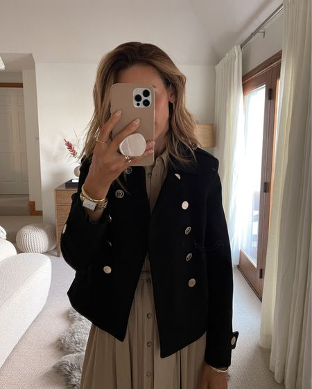 Military inspired black jacket - top quality Silver coin style buttons - looks very expensive. Under $130 - xs  Style it with jeans, shorts, skirts or over dresses.   #LTKHoliday #LTKsalealert #LTKstyletip