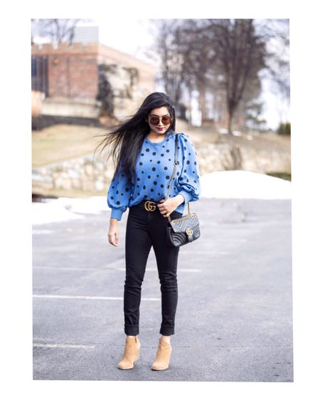 <Casual #ootd> Blue polka dot sweatshirt tucked into black denim and some neutral accessories!💙 @target @targetstyle @whowhatwearcollection Outfit details- http://liketk.it/2zCZA #liketkit @liketoknow.it  Screenshot this pic to get shoppable product details with the LIKEtoKNOW.it app!