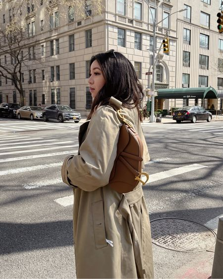Vintage Burberry trench + Dior Saddle bag in Camello