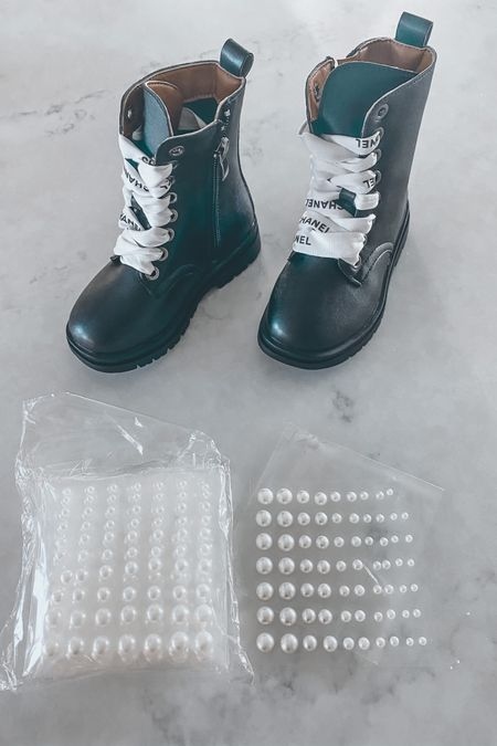 Decided to get a little crafty and make my mini me some Chanel Inspired combat boots 👧 SO easy and fun! Linked everything below. #chanel #chanelinspired #diy http://liketk.it/31FFM #liketkit @liketoknow.it #LTKstyletip #LTKunder50 @liketoknow.it.family #LTKsalealert