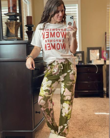 I am loving this Empowered Women Empower Women pajama top and floral pajama bottoms from Target! Both fit true to size and are so soft and comfy! I also love these cozy and comfy fuzzy cream slippers from Pink Lily! I also linked a similar pair of slippers from Amazon as well! I also linked my leopard cheetah apple watch band! Click here to shop the full look! http://liketk.it/39ttn #liketkit @liketoknow.it #LTKshoecrush #StayHomeWithLTK #LTKstyletip Follow me on the LIKEtoKNOW.it shopping app to get the product details for this look and others