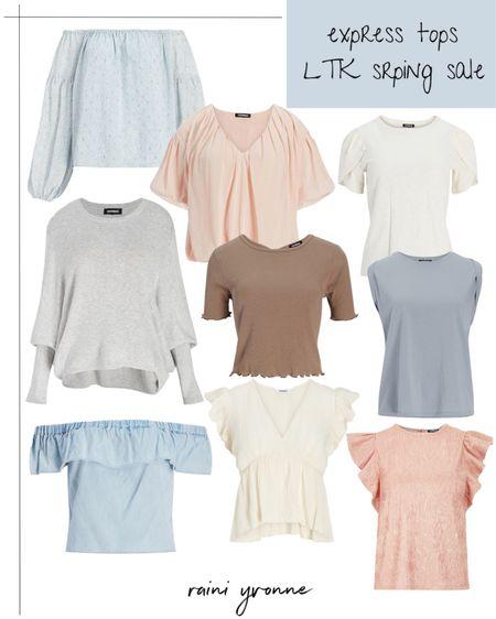 Express Tops LTK Spring Sale  http://liketk.it/3ckKW @liketoknow.it #liketkit   #LTKSpringSale #LTKsalealert #LTKunder100  Spring Outfit, Summer Outfit, Sale, LTK, Off the Shoulder Top, Wedding Guest Outfit, Essential Tops, Going Out Tops, Basic Outfit, Neutral Top