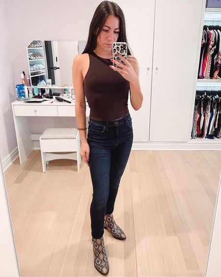 Also got the top in brown. Great for a casual fall outfit but I can't wait to style it for thanksgiving. Under $50 from express.   #LTKSeasonal #LTKunder50 #LTKshoecrush