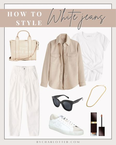 How to style White Abercrombie 80s high rise mom jeans (run TTS): neutral cozy shirt jacket, knotted crew tee, black sunglasses, gold chain necklace, white Sam Edelman sneakers, Marc Jacobs mini traveler tote  #LTKunder50 #LTKstyletip #LTKunder100