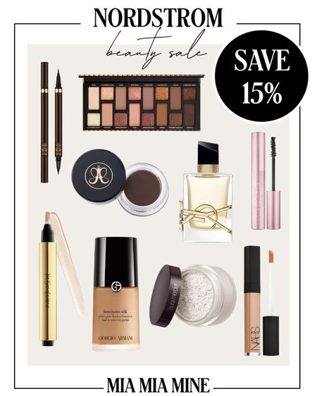 Nordstrom beauty sale - take 15% off the Giorgio Armani luminous silk foundation, too faced better than sexy mascara, Tom Ford makeup, Anastasia brow pomade and nars creamy concealer   #LTKsalealert #LTKbeauty #LTKunder100