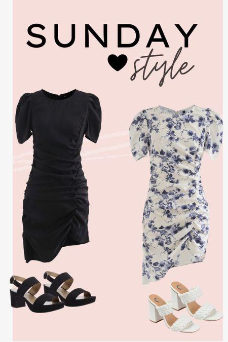 Black ruched dress. Floral ruched dress, puff sleeves. Black heels. Black sandals. White heels. White sandals. Dressy casual   #LTKSeasonal #LTKshoecrush #LTKSpringSale