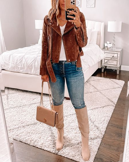 Fall staple suede moto jacket from the Nordstrom sale 🙌🏻 wearing size xs. This is one of my favorites ever. Tall knee high boots half size up. I love the square toe!!   #LTKsalealert #LTKunder100 #LTKstyletip