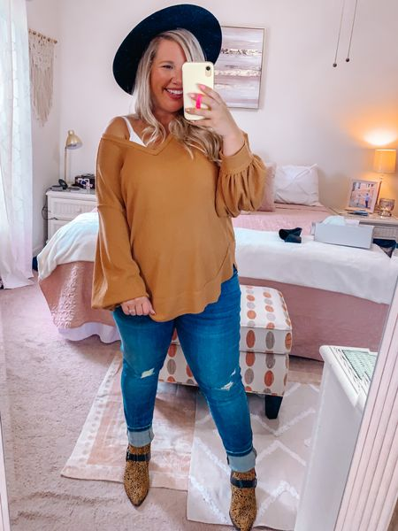 Ready for a cooler Fall day 🍁   Wearing a large in the shirt. Size down if you want it more fitted. Linking similar leopard booties.       #LTKSeasonal #LTKbump #LTKstyletip