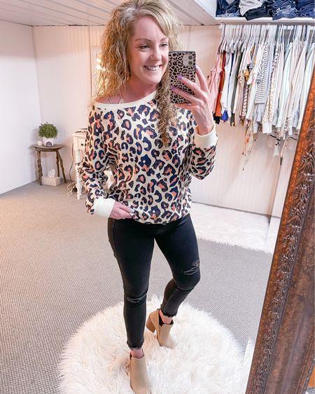 Leopard pullover size medium / Abercrombie black skinny jeans fit TTS / tan pointed booties / spring fashion / outfit / style http://liketk.it/3fP1P #liketkit @liketoknow.it #LTKunder50 #LTKstyletip #LTKshoecrush