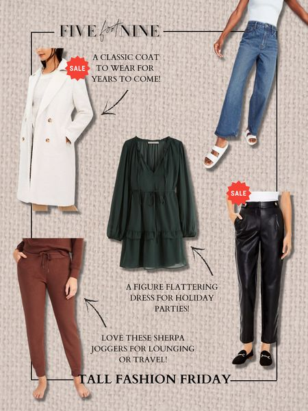 Tall fashion Friday picks! Wide leg jeans, double breasted coat, faux leather pants, holiday party dress and cozy joggers!   #LTKunder100 #LTKSeasonal #LTKsalealert