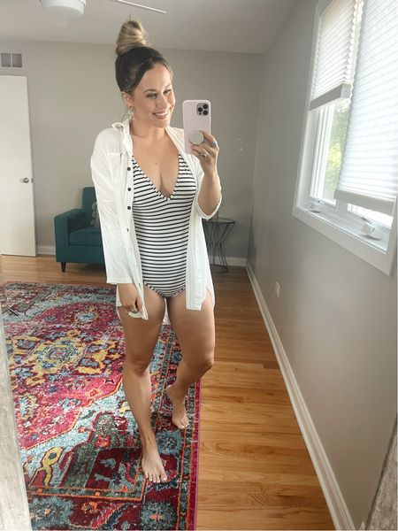 Amazon finds! This one piece swimsuit is a prime deal! My white cover up is also an amazon fashion find!  #LTKsalealert #LTKswim #LTKunder50
