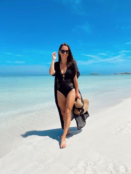 Amazon swimsuit - one piece swimsuit - beach style - beach coverup - amazon finds - both run true to size!  #LTKswim #LTKtravel #LTKunder50