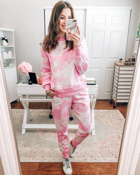 Pink tie dye sweatshirt and sweatpants on sale $14 each for prime day wearing XS http://liketk.it/3i9e5 #liketkit @liketoknow.it  Amazon prime Prime deals