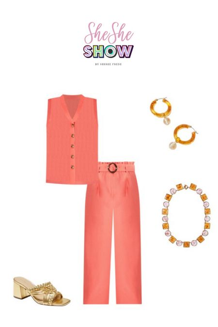 Trending sets @anntaylor #anntaylor #trending #sets #earrings #sandals #slidesandals #widelegpants #orangeoutfit #bracelets #jewelry   #LTKstyletip #LTKunder100 #LTKshoecrush