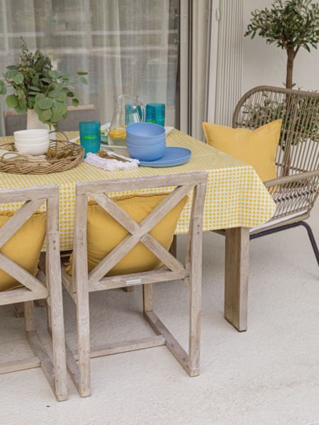 Summer Home trends: fun and bright tabletops with Walmart #AD   Dining table decor, dining table, rattan chair, dinnerware, serveware, olive tree, decorative pillows, water pitcher, brass silverware, home decor  #LTKhome #LTKSeasonal #LTKsalealert