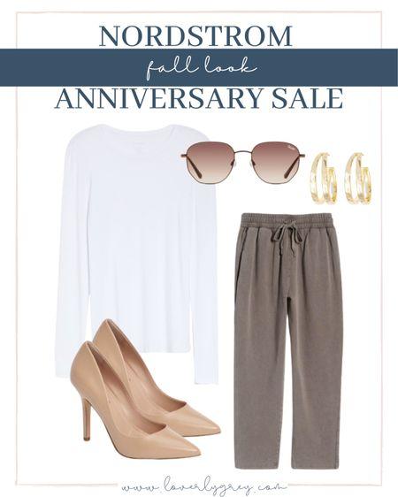 Loverly grey look: elevate jogger with heels and a crisp white tee.   #LTKstyletip #LTKunder100 #LTKsalealert