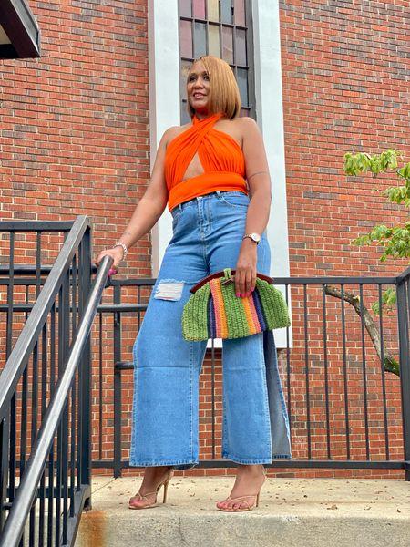 Side Slit Jeans and Criss Cross Top   #LTKunder50 #LTKstyletip