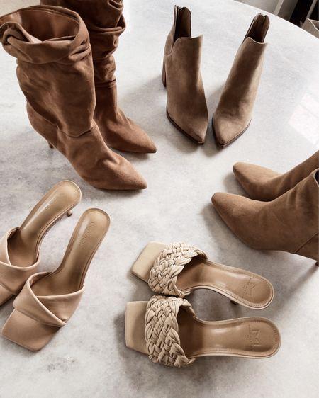 Boots, booties, suede boots, sandals, heels, braided heels, fall boots, shoes, neutral shoes, neutral heels,   #LTKstyletip #LTKunder100 #LTKshoecrush