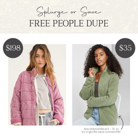 Splurge or Save? 🛍💰 I just ordered this #freepeopledupe in L + XL to try to get the same oversized fit of the FP jacket! http://liketk.it/2ZdOt @liketoknow.it #liketkit #LTKstyletip #LTKunder50 #dupe #splurgeorsave