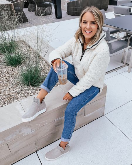 """Cozy like Sunday morning ☕️💕... or something like that 😂 Our fave $49 fleece now comes in a white variation & I'm smitten! 😍 This year's version is more fitted too & FULLY stocked as are my sneaks! 🙌🏼 (both TTS) Shop via the link in my bio or by following me on the @liketoknow.it app! Sharing a ton of sales from various retailers on stories & just got done filming a try on of in stock #NSale finds! Stay tuned! 🤗 — Fleece pullover - XS (TTS) Denim - TTS Wedge sneakers - TTS My measurements: 5'2"""" & 105-110lbs  http://liketk.it/2DlWH #liketkit #LTKsalealert #LTKshoecrush #LTKstyletip #LTKunder50 #LTKunder100 #LTKtravel Nordstrom Anniversary sale 