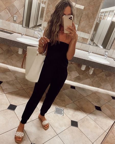Jersey jumpsuit, so comfortable for traveling… exact one is sold out but I found an identical option // tote is 10% off with code SHANNON10     #LTKtravel