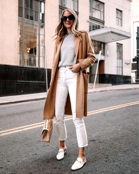 Fashion Jackson, white jeans, spring outfit, camel coatigan, white Gucci mules, jenni kayne sweater (JACKSON15 discount) http://liketk.it/3cgTS #liketkit @liketoknow.it #LTKunder50 #LTKunder100 #LTKshoecrush