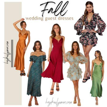 Fall wedding guest dresses Hello molly dresses   green leopard print dress   red slip dress   orange slip dress