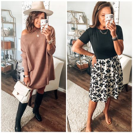 Amazon dresses😍 Swester dress ( I sized down) comes in more colors, Fit and Flare dress fits TTS comes in multiple patterns and colors. Tall black boots, The Drop heels from Amazon and Victoria Emerson cuff bracelets. #ltkfall #founditonamazon  Sweater dresses, dresses, Amazon fashion, Amazon finds, date night, workwear   #LTKsalealert #LTKstyletip #LTKunder50