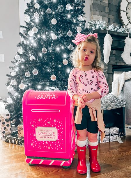 Letters to Santa mailbox, wondershop, Christmas decor, holiday decorations, target Christmas decor, candy cane, toddler girl outfits, girls Christmas outfits, red hunter boots, Jojo bows, black Christmas tree, modern Christmas   #LTKhome #LTKkids #LTKgiftspo