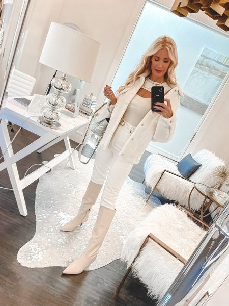 When in doubt - GO MONOCHROME! 🤍  And to make it even better choose shades of winter white ~ it's very unexpected this time of year and a look done with shades of the same color always has a slimming effect.   This shirt jacket is crazy soft and I love it worn over yoga clothes too! It runs tts, I'm wearing an XS.   Enjoy your day friends ~ it's finally starting to feel like fall out!!       #LTKshoecrush #LTKunder100 #LTKstyletip