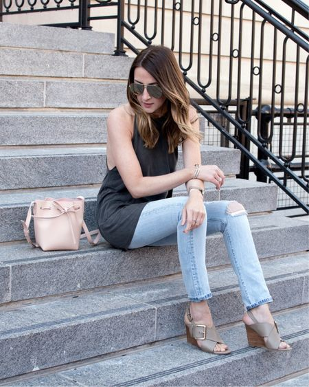 Softest tank ever + most comfortable jeans/wedges ever = 👍🏼 || http://liketk.it/2r4iH #liketkit @liketoknow.it