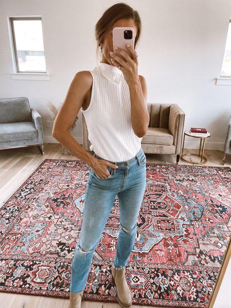 XS in this Gibson look top - great fall staple! 26 in mother jeans. Boots tts   #LTKstyletip #LTKunder100 #LTKsalealert