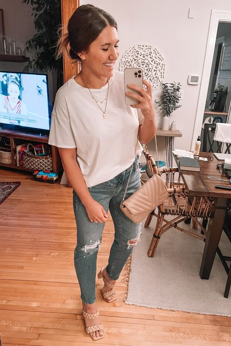 Target style oversized white tee (small) old navy high tide jeans (size 6), amazon fashion block heels, braid sandals & purse Amazon finds, target looks, target finds, old navy deals, date night look, date night outfit   #LTKitbag #LTKstyletip #LTKshoecrush