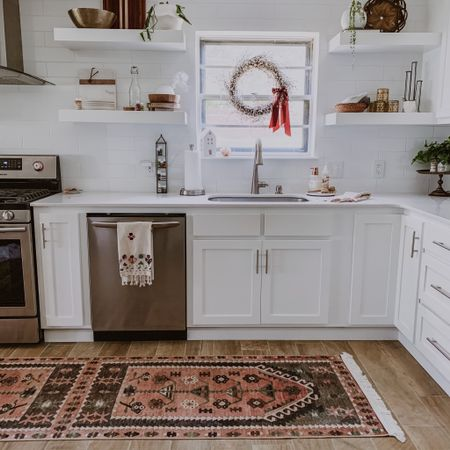 A clean kitchen makes me feel so much more centered! When my environment is chaos, my mind goes on overdrive and loses focus. ❤️  If you saw my IG stories from yesterday, you saw this new rug that I am in love with! 😍 It was an ad that popped up on my phone... couldn't believe it was only $100! Soo happy I snagged it! I've linked it in the LTKapp.   Shop your screenshot of this pic with the LIKEtoKNOW.it shopping app     http://liketk.it/2Psmm #liketkit @liketoknow.it @liketoknow.it.home #LTKunder100 #StayHomeWithLTK