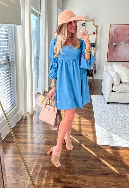 Amazon babydoll dress  Amazon suede floppy hat  Fall Amazon look    #LTKshoecrush #LTKunder50 #LTKunder100