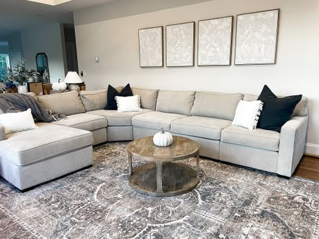 Our sectional is on sale! This is the beige chrome color! Ours is configured a little funKy! 4 piece radley sectional from Macy's. We LOVE it!!  Living room, neutral living room, home decor, washable rug, wooden coffee table, round coffee table, neutral coffee table, neutral, sectional, couch  #LTKhome #LTKSale