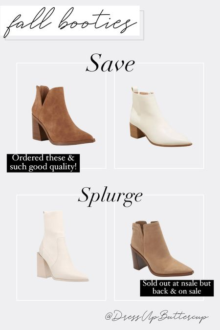 Save vs. Splurge booties! Lots of good fall bootie options at different price points.   #LTKsalealert #LTKshoecrush #LTKstyletip