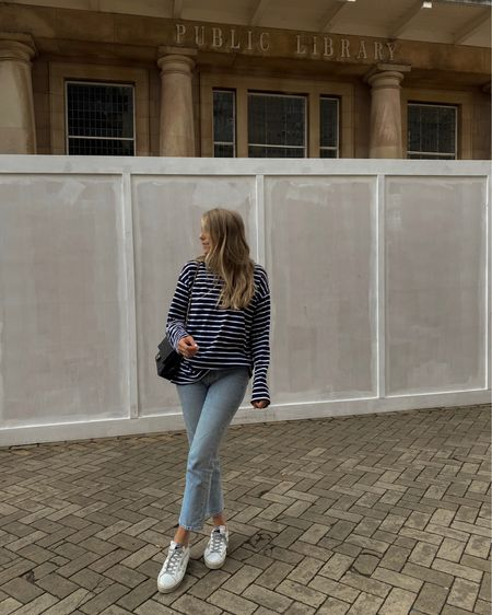 Arket striped top, Levi's jeans, bleach wash jeans; golden goose trainers, new mum, easy casual outfit , Breton top @liketoknow.it #liketkit http://liketk.it/3nKYj #LTKeurope #LTKstyletip #LTKunder100